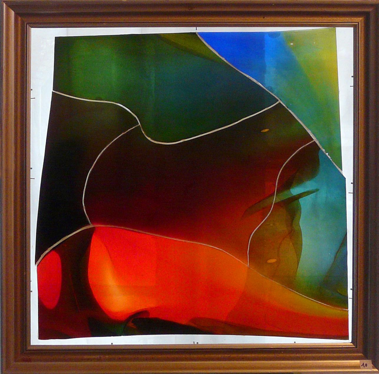Glasbilder - Friedemann Hergarten - Farbkomposition im Rahmen